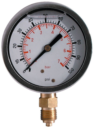 7 BAR (100 PSI) 63mm Pressure Gauge Bottom Entry Glycerine Filled (3)