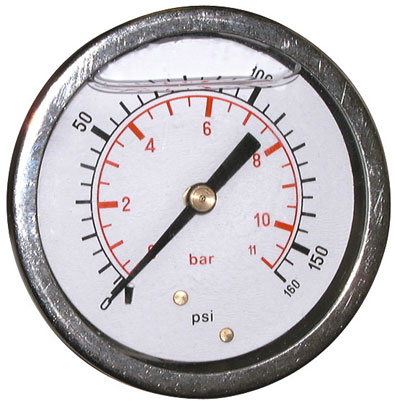 WIKA 27 BAR (400 PSI) 63mm Pressure Gauge Back Entry Glycerine Filled (3)